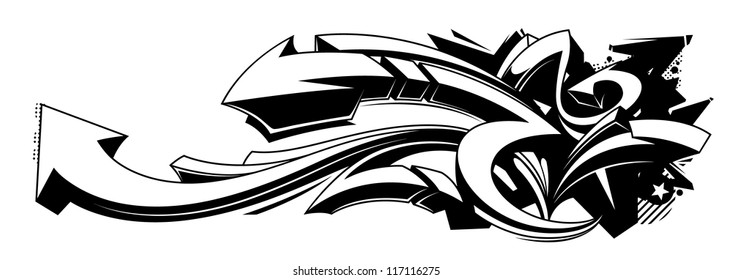 Black and white graffiti background. Horizontal graffiti banner. Vector EPS 10 illustration.