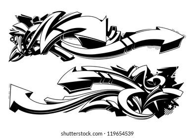 Black and white graffiti backgrounds. Horizontal graffiti banners. Vector illustration.