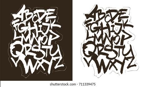 Black and white graffiti handletterin alphabet, font vector