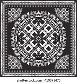 Black and white graphic background, geometric lace pattern with frame, tribal ethnic mandala ornament, line art. Bandanna shawl fabric print, silk neck scarf or kerchief design, vector illustration.