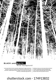 Black and white graphic background with trees. Vector illustration