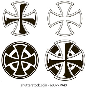 Black and white graphic different cross icons vector set on white background