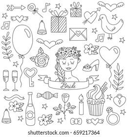 Black and white graphic doodle wedding love bride save the date romance icons vector set