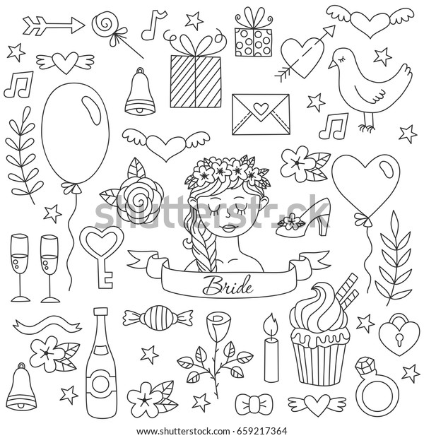 Black White Graphic Doodle Wedding Love Stock Vector Royalty Free