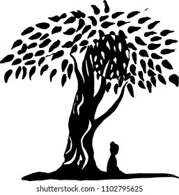 Black and white graphic illustration of a meditating man. The idea for a tattoo or a print.