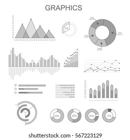 Black and white graphics poster with diagrams in round, rectangular shapes rising, falling column charts. Colourless banner with business concepts for demonstrating progress and regressions.