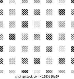 Black white and gray striped squares geometric seamless pattern, vector
