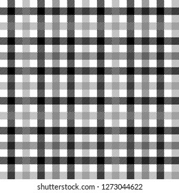 Black white and gray tartan traditional fabric seamless pattern, vector