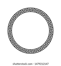 Black and white Greek ornate tangled round frame template vector