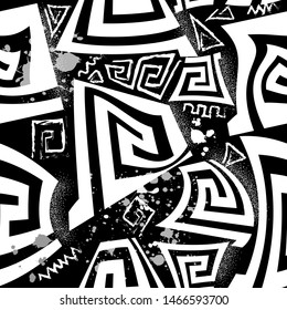 Black and white greek vector seamless pattern. Geometric abstract shapes ancient background. Chalk grunge doodle greek key meanders tribal ornament with zigzag lines, dots, squares, triangles, splats