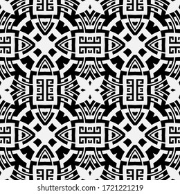 Black and white greek vector seamless pattern. Geometric ancient background. Repeat symmetrical backdrop. Greek key meanders tribal ornament. Floral modern design with abstract flowers, shapes, lines.