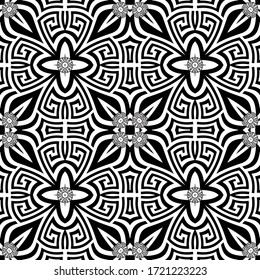 Black and white greek vector seamless pattern. Geometric ancient background. Repeat symmetry backdrop. Greek key meanders tribal ornament. Floral modern design with abstract flowers, shapes, circles.
