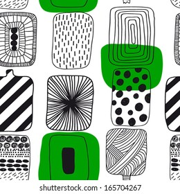 Black and white with green geometric pattern, Finnish design. Seamless pattern  Gorgeous seamless floral background