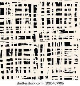 Black white grid pattern. Vector shibori line seamless print. Organic net watercolor background. Tie dye tile. Geometric folk pattern. Hand drawn japan batik backdrop. Kimono watercolour