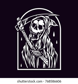 Black White Grim Reaper Vector
