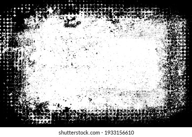 Black and white grunge background. Monochrome texture of wear, ruin, horror, dirt. The ink-stained surface is old
