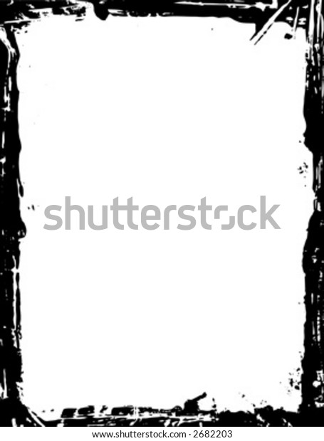 black and white grunge border illustration