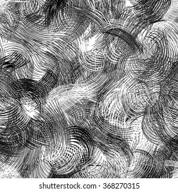 Black and white grunge striped and wavy dynamic seamless pattern