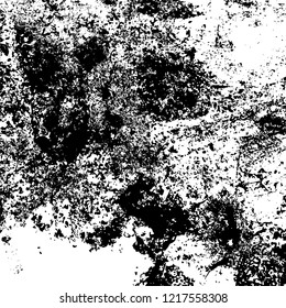 Black And White Grunge Urban Vector Texture Template. Dark Messy Dust Overlay Pattern Sample. Distress Background. Easy To Create Abstract Dotted, Scratched, Vintage Effect With Noise And Grain