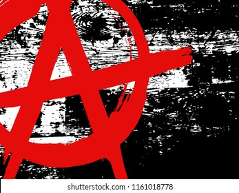 Black and white grunge wood texture with red ink hand drawn symbol of anarchy. Vector abstract vintage pattern. Monochrome background with noise and grain. Banner template. Dark wooden wall
