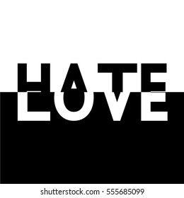 black white half love hate text label
