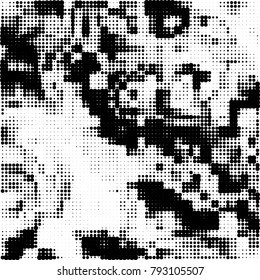 Black and white halftone. Abstract pattern monochrome vector. The texture of the spots of ink print and design