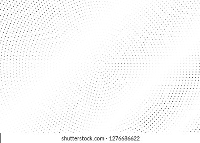Black and white halftone vector texture. Faded dotted gradient. Micro dotwork surface for vintage effect. Monochrome halftone background or overlay. Perforated retro design. Ink dot texture card