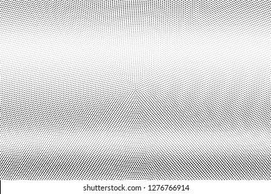 Black and white halftone vector texture. Horizontal dotted gradient. Micro dotwork surface for vintage effect. Monochrome halftone overlay. Perforated retro background. Ink dot texture card