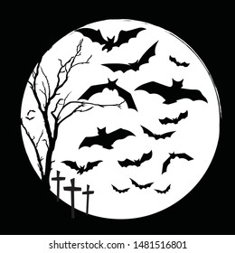 black and white halloween and bats with terrible night in the cemetery on halloween a full moon