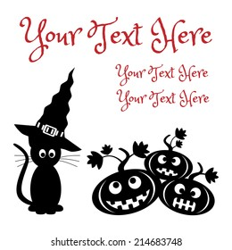 black white halloween card template illustration stock illustration