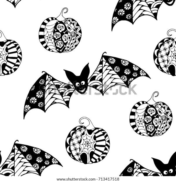 Black White Halloween Pattern Zentangle Bats Stock Vector Royalty Free 713417518