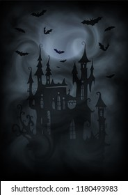 Black and white halloween poster vector background with dark vampire castle silhouette, moon and bats in gray fog