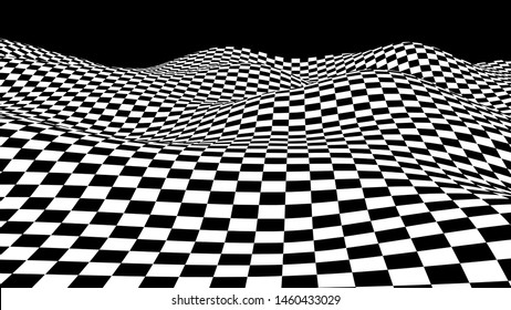 Black and white hallucination. Optical illusion. Twisted illustration. Abstract futuristic background of squares. Dynamic wave. Vector.