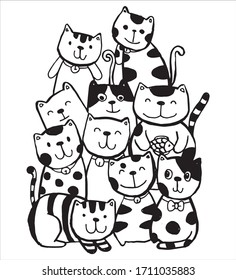 Black and white Hand draw vector, Cat Characters style doodles illustration for children vector.