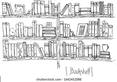 Black and white hand drawing of a home library, wooden bookshelfs with lots of books and photo frames.