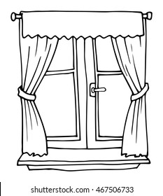 Black and white, hand drawn cartoon window, with red curtains, vector illustration, isolated on white