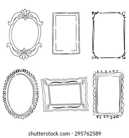 Black and white hand drawn decorative victorian frames
