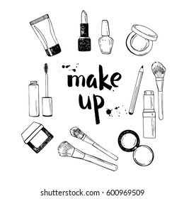 Black and white hand drawn illustration of make up tools.Lipstick, nail polish, make up brushes, eye shadow, blush, mascara, cream. Vector illustration.