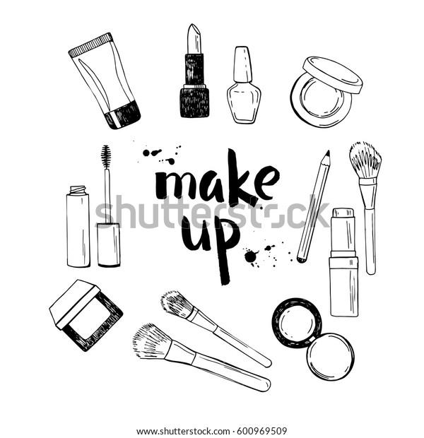 Black and white hand drawn illustration of make up tools.Lipstick, nail polish, make up brushes, eye shadow, blush, mascara, cream. Vector illustration.