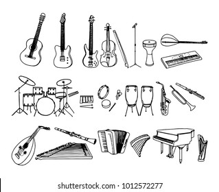 Black and white hand drawn musical instruments