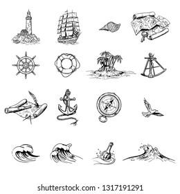 black and white hand drawn sea theme illustration set