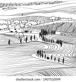 Black and white hand drawn Toscana countryside scenery. Graphic vector illustration Italian landscape