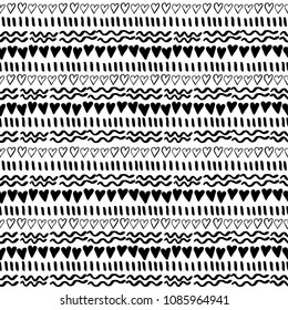 Black and white hand drawn vector seamless pattern suitable for wrapping paper, wallpaper, textile design, web design, stationery and more