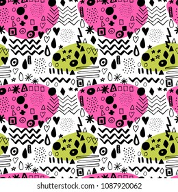 Black and white hand drawn vector seamless pattern with bright pink and green spots suitable for wrapping paper, wallpaper, textile design, web design, stationery and more