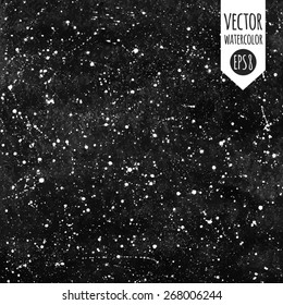 Black and white hand drawn watercolor vector night sky with stars. Splash texture.