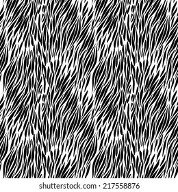Black and white hand drawn zebra seamless background for presentatons and textures. vector