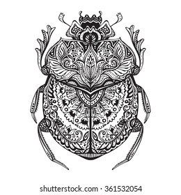 Black and white hand drawn zentangle stylized scarab. Doodle ethnic patterned vector bug. African, egyptian totem.  Sketch for tattoo, poster, print or t-shirt