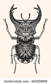 Black and white hand drawn zentangle stylized beetle. Doodle ethnic patterned vector bug. Sketch for tattoo, poster, print or t-shirt Forest tree. Detailed illustration. Black, beige color