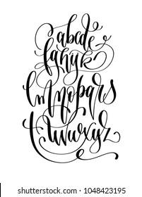 black and white hand lettering alphabet design, handwritten brush script modern calligraphy cursive font vector illustration