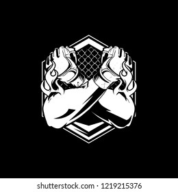 black and white hand with MMA glove logo template for MMA team
